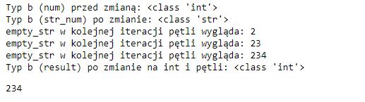 Wynik pseudo iteracji przez liczbę i podgląd na typy w Pythonie